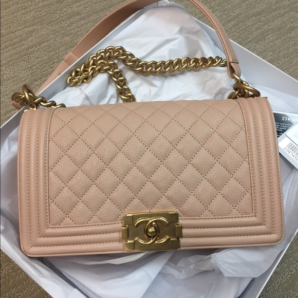 e1afa5ecfc9a CHANEL Handbags - CHANEL medium boy bag in beige with brush GHW❣ ❣️